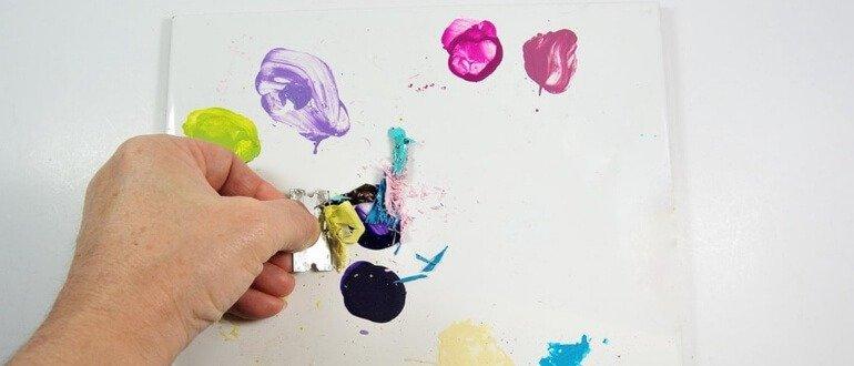 Керамическая плитка в качестве поверхности для смешивания красок
